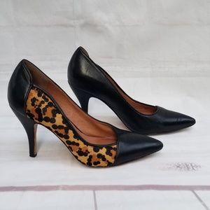 Corso Como Sasha Black Leather Leopard Heels